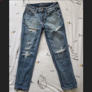 American Eagle Boy Crop Distressed Jeans